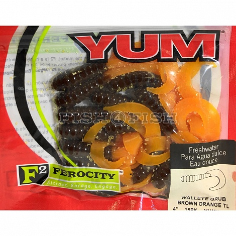 Твистер Walleye Grub YWG451 4,0 Brown Orange YUM 15 шт.